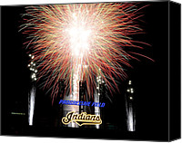 Cleveland Stadium Canvas Prints - Fireworks Finale Canvas Print by Robert Harmon