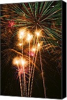Fireworks Photo Canvas Prints - Fireworks in night sky Canvas Print by Garry Gay