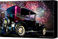Independence Day Painting Canvas Prints - Fireworks In The Ford Canvas Print by Suni Roveto