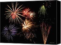 4th Digital Art Canvas Prints - Fireworks Canvas Print by Jeff Kolker