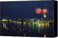Celebrations Canvas Prints - Fireworks Over Halifax Harbor Celebrate Canvas Print by James P. Blair