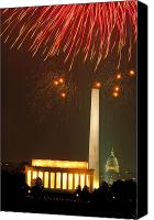 July Fourth Canvas Prints - Fireworks over Washington DC Mall Canvas Print by Carl Purcell
