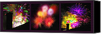 July Mixed Media Canvas Prints - Fireworks Triptych Canvas Print by Steve Ohlsen