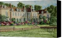 Manor Painting Canvas Prints - Firle Place England Canvas Print by Charlotte Blanchard
