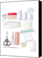 Bandages Canvas Prints - First Aid Kit Equipment, Artwork Canvas Print by Peter Gardiner