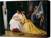 Crib Painting Canvas Prints - First Born Canvas Print by Gustave Leonard de Jonghe