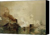 Ships Painting Canvas Prints - First Fight between Ironclads Canvas Print by Julian Oliver Davidson