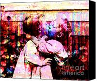 Youth Mixed Media Canvas Prints - First Kiss  Canvas Print by Tammera Malicki-Wong