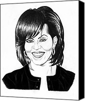 Jeff Drawings Drawings Canvas Prints - First Lady Canvas Print by Jeff Stroman