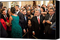 First Ladies Canvas Prints - First Lady Michelle Obama Greets Guests Canvas Print by Everett