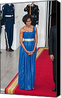 Michelle-obama Canvas Prints - First Lady Michelle Obama Wearing Canvas Print by Everett