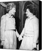 Agnew Canvas Prints - First Lady Patricia Nixon Hold Hands Canvas Print by Everett