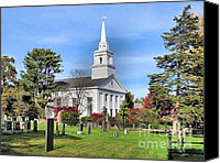 Autumn Photographs Canvas Prints - First Parish Church Canvas Print by Janice Drew
