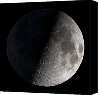 Outdoors Canvas Prints - First Quarter Moon Canvas Print by Stocktrek Images