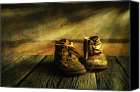 Wood Digital Art Canvas Prints - First shoes Canvas Print by Veikko Suikkanen