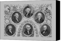 Thomas Jefferson Canvas Prints - First Six U.S. Presidents Canvas Print by War Is Hell Store