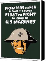 One Mixed Media Canvas Prints - First To Fight US Marines Canvas Print by War Is Hell Store