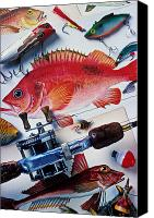 Capture Canvas Prints - Fish bookplates and tackle Canvas Print by Garry Gay