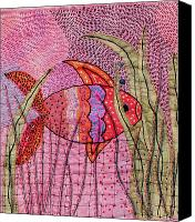 Greeting Cards Tapestries - Textiles Canvas Prints - Fish In Pink Canvas Print by Jude Ongley-Mowris