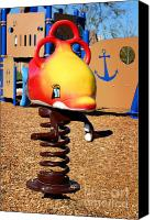 Playground Equipment Canvas Prints - Fish Jumper Canvas Print by Henrik Lehnerer