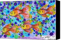 Bubbles Drawings Canvas Prints - FIsh Patterns ACEO Canvas Print by Regina Valluzzi