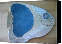 Ocean Ceramics Canvas Prints - Fish Platter Canvas Print by Julia Van Dine