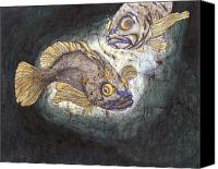 Batiks Painting Canvas Prints - Fish Tales Canvas Print by Shari Carlson