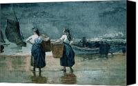 Sail Canvas Prints - Fisher Girls by the Sea Canvas Print by Winslow Homer