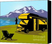 Camper Canvas Prints - Fisherman caravan Canvas Print by Aloysius Patrimonio