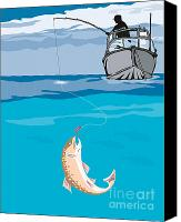 Illustration Canvas Prints - Fisherman Fishing Trout Fish Retro Canvas Print by Aloysius Patrimonio