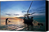 Huahin Canvas Prints - Fisherman Life Huahin Thailand Canvas Print by Arthit Somsakul