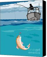 Fish Jumping Canvas Prints - Fisherman on boat trout  Canvas Print by Aloysius Patrimonio