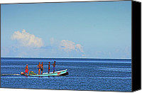 Williams Canvas Prints - Fishermen and Canoe- St Lucia Canvas Print by Chester Williams