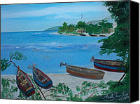 Nicole Jean-louis Canvas Prints - Fishermen Boats By The Sea Canvas Print by Nicole Jean-Louis