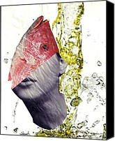 Avant Garde Mixed Media Canvas Prints - FishHead Canvas Print by Sarah Loft