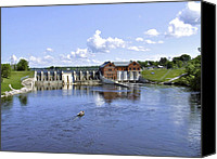 Prairie Photography Canvas Prints - Fishing at the Croton Dam Canvas Print by Richard Gregurich