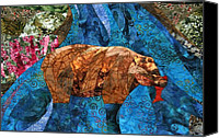 Cloth Tapestries - Textiles Canvas Prints - Fishing Bear Canvas Print by Linda Beach