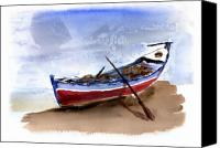 Boat Canvas Prints - Fishing Boat Canvas Print by Anselmo Albert Torres