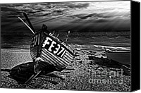 Wooden Boat Canvas Prints - fishing boat FE371 Canvas Print by Meirion Matthias