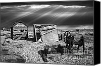 Sheds Canvas Prints - Fishing Boat Graveyard 4 Canvas Print by Meirion Matthias