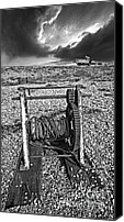 Mono Canvas Prints - Fishing Boat Graveyard 8 Canvas Print by Meirion Matthias