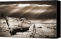 Wooden Boat Canvas Prints - Fishing Boat Graveyard 9 Canvas Print by Meirion Matthias