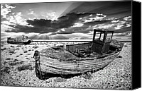 Wooden Boat Canvas Prints - Fishing Boat Graveyard Canvas Print by Meirion Matthias