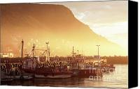 Daybreak Canvas Prints - Fishing Boats at Dawn Kalk Bay South Africa Canvas Print by Neil Overy