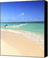 Sandy Beach Canvas Prints - Fishing boats in Caribbean sea Canvas Print by Elena Elisseeva