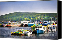 Docks Photo Canvas Prints - Fishing boats in Newfoundland Canvas Print by Elena Elisseeva