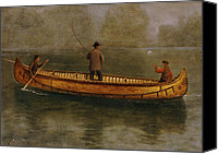 Sports Canvas Prints - Fishing from a Canoe Canvas Print by Albert Bierstadt