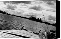 Summer Scenes Canvas Prints - Fishing in Black and White Canvas Print by Emily Stauring