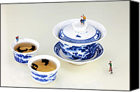 Blue And White Porcelain Canvas Prints - Fishing on tea cups II Canvas Print by Mingqi Ge