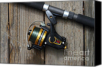 American Pastime Canvas Prints - Fishing Rod and Reel . 7D13542 Canvas Print by Wingsdomain Art and Photography